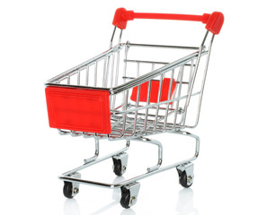 Shopping cart on white background .