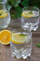 Cold lemon water with mint