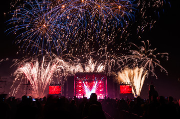 Fireworks above the stage during concert