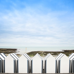 Yport, between Etretat and Fecamp, Normandy. Beach huts or cabin