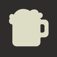 Stylized silhouette of glass mug with green beer and foam