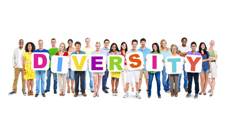 Large Group of World People Holding Word Diversity
