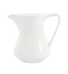 Side of ceramic milk jug on white background.