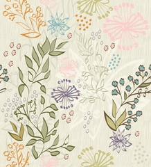 Seamless pattern with flower and floral elements