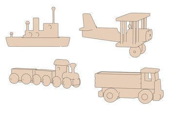 cartoon image of wooden toys