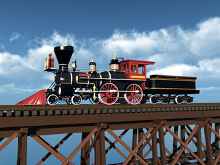 Amerikanische Dampflokomotive aus den 1850er Jahren