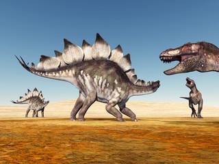 Die Dinosaurier Stegosaurus und Tyrannosaurus Rex