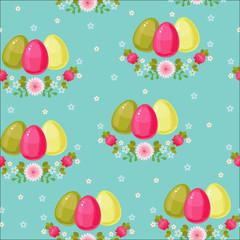 Easter seamless pattern. Colorful eggs on floral background