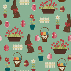 Easter seamless pattern. Chocolate bunny and decorated eggs in a