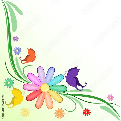 Sfondo margherita arcobaleno e farfalle immagini e for Sfondi farfalle gratis