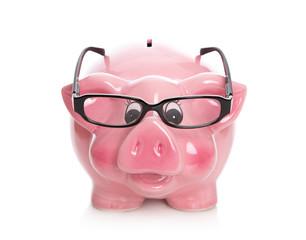 Geld Konzept zur Altersvorsorge - Pensionskasse mit Brille