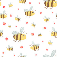 Cute pattern with funny bees and flowers.