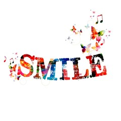 """Colorful vector """"SMILE"""" background with butterflies"""