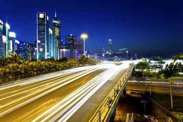 Traffic at city downtown at night