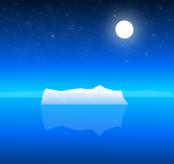 Beauty of Iceberg at Night & Moon-Vector