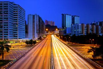Rush hour traffic in Hong Kong at night