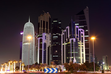Doha downtown Al Dafna at night. Qatar, Middle East