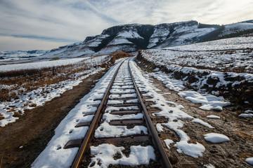 Train Rail line Tracks Snow Mountain Landscape
