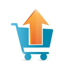 upload to shopping cart icon illustration design