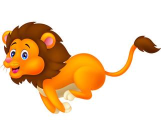 Cute lion cartoon running