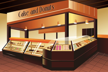 Grocery store: cake and donuts section