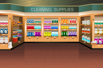 Grocery store: cleaning supply section