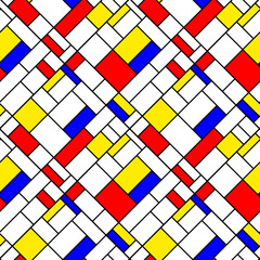 Colorful diagonal geometric mondrian style seamless pattern