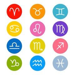 Vector Zodiac, Horoscope Circle Symbols in Retro Colors
