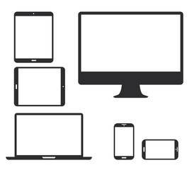 Set of black electronic device silhouette vector icons