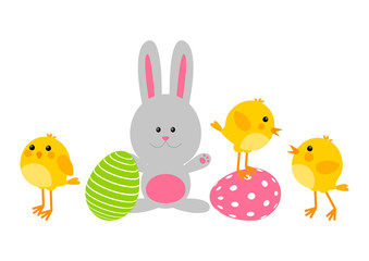 Easter eggs with cute chickens and rabbit