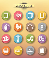 Technology icons,colourful version,vector