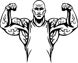 Bodybuilding and Powerlifting - vector illustration.