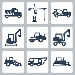 Vector construction equipment icons set