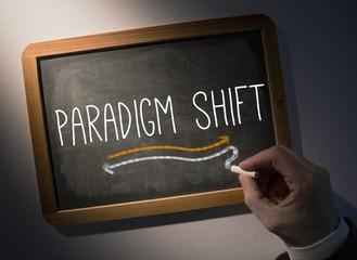 Hand writing Paradigm shift on chalkboard