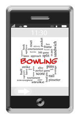 Bowling Word Cloud Concept on Touchscreen Phone