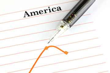 Mechanical pencil point to dot on America graph.