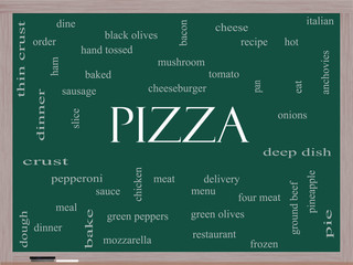 Pizza Word Cloud Concept on a Blackboard