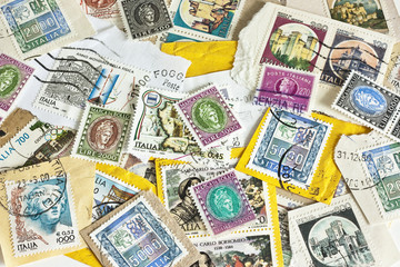 italian old stamps as background
