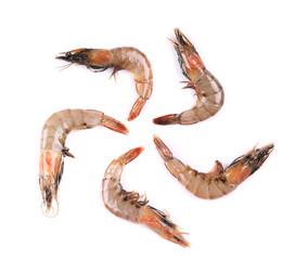 Raw shrimp isolated on a white background