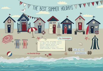 Beach Huts Summer Poster