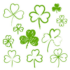 Set of hand drawn clovers