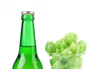 Bottle of beer and hop in glass.