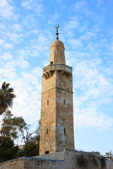 Old minaret in jewish quarter Jerusalem