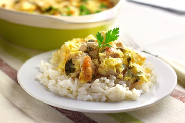 Chicken breast and cauliflower casserole with rice