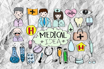 Medical icon set idea on crumpled paper