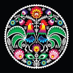 Polski kwiatowy haft z kogutami - tradycyjny lud - 62227407
