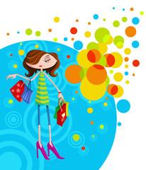 Stylish girl with shopping bag