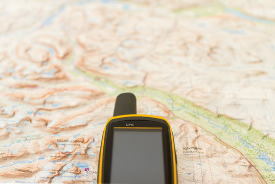Outdoor GPS on a hiking map.