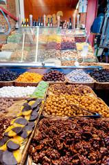 Nuts shop in La Boqueria Market at Barcelona