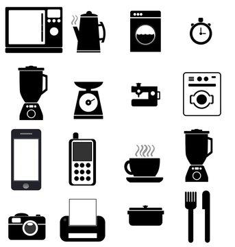 Electroménager, cuisine et électronique en 16 icônes